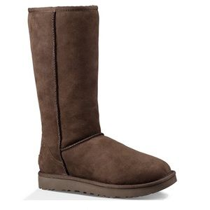 UGG Classic Tall Choc Brown Suede Fur Boots Size 8